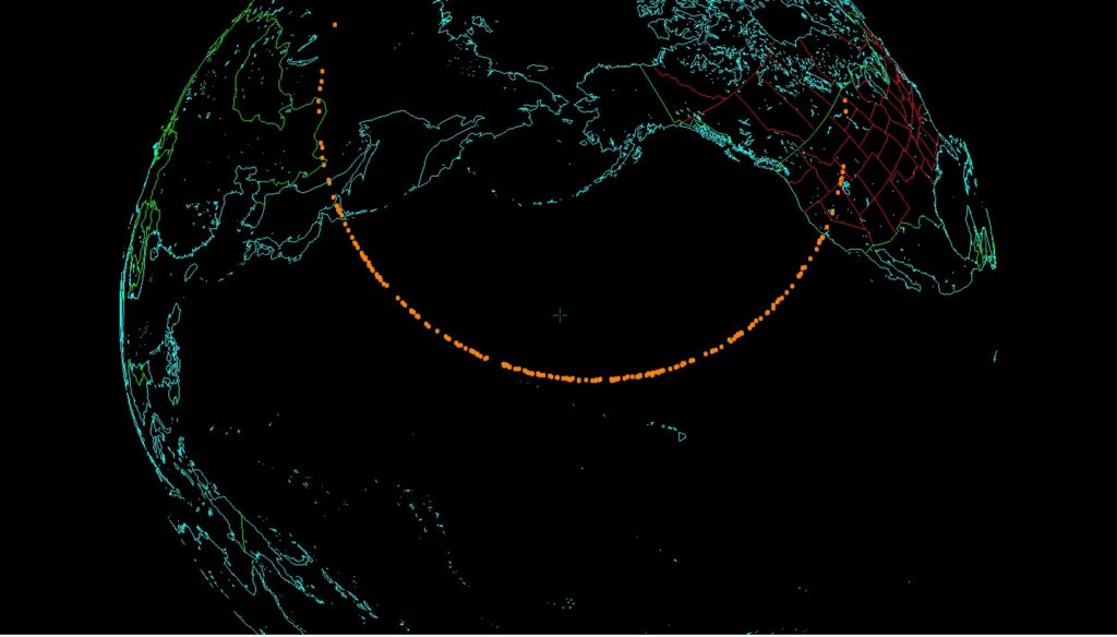 An asteroid (fireball) risk corridor of potential impact for the NEO 2018 VP1, the orange dots is where 200 virtual impactors strike the Earth's atmosphere.